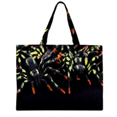 Colorful Spiders For Your Dark Halloween Projects Zipper Large Tote Bag