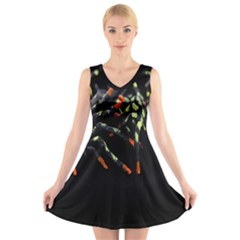 Colorful Spiders For Your Dark Halloween Projects V Neck Sleeveless Skater Dress