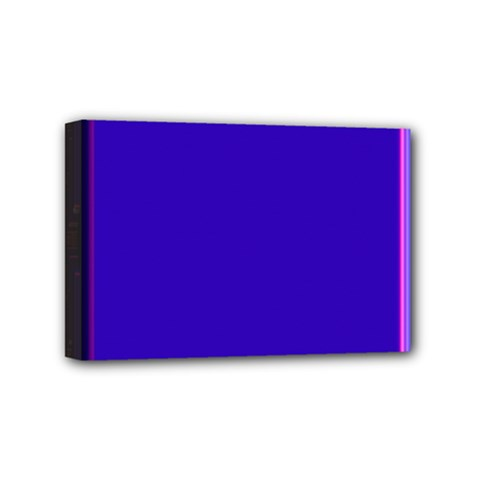 Blue Fractal Square Button Mini Canvas 6  X 4