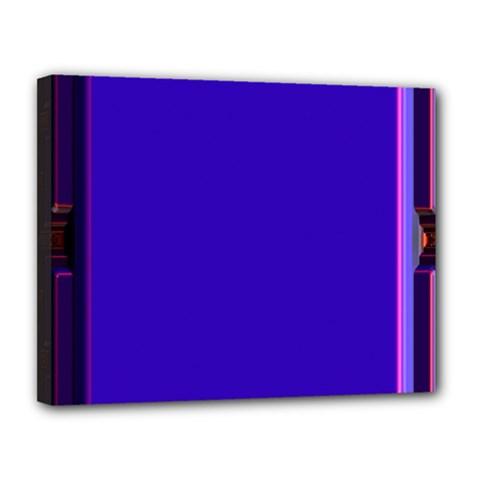 Blue Fractal Square Button Canvas 14  X 11
