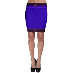 Blue Fractal Square Button Bodycon Skirt