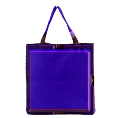 Blue Fractal Square Button Grocery Tote Bag