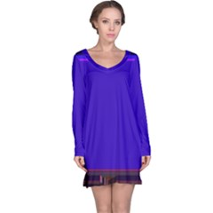 Blue Fractal Square Button Long Sleeve Nightdress
