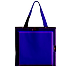 Blue Fractal Square Button Zipper Grocery Tote Bag