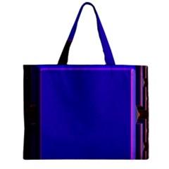 Blue Fractal Square Button Zipper Mini Tote Bag