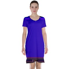 Blue Fractal Square Button Short Sleeve Nightdress
