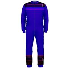 Blue Fractal Square Button OnePiece Jumpsuit (Men)