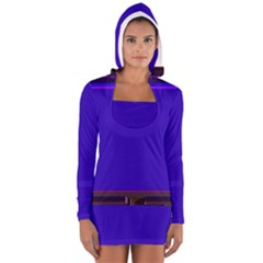 Blue Fractal Square Button Women s Long Sleeve Hooded T Shirt