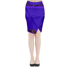 Blue Fractal Square Button Midi Wrap Pencil Skirt