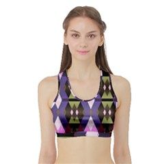 Geometric Abstract Background Art Sports Bra With Border