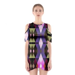 Geometric Abstract Background Art Shoulder Cutout One Piece