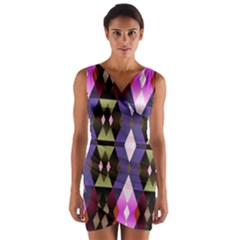 Geometric Abstract Background Art Wrap Front Bodycon Dress