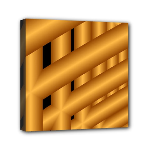 Fractal Background With Gold Pipes Mini Canvas 6  x 6