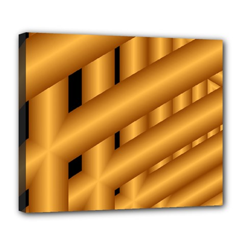 Fractal Background With Gold Pipes Deluxe Canvas 24  X 20