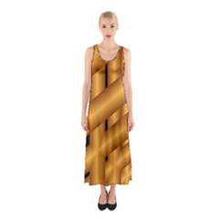 Fractal Background With Gold Pipes Sleeveless Maxi Dress