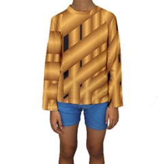 Fractal Background With Gold Pipes Kids  Long Sleeve Swimwear