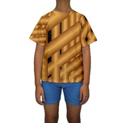 Fractal Background With Gold Pipes Kids  Short Sleeve Swimwear