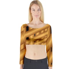 Fractal Background With Gold Pipes Long Sleeve Crop Top