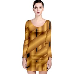 Fractal Background With Gold Pipes Long Sleeve Bodycon Dress