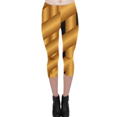 Fractal Background With Gold Pipes Capri Leggings