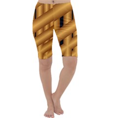 Fractal Background With Gold Pipes Cropped Leggings
