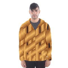 Fractal Background With Gold Pipes Hooded Wind Breaker (men)