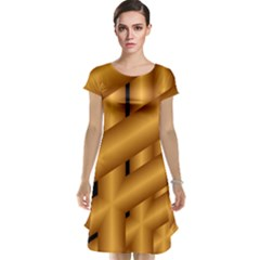 Fractal Background With Gold Pipes Cap Sleeve Nightdress