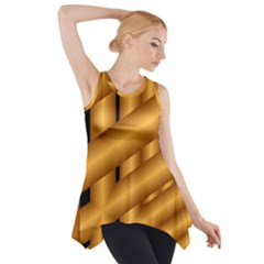 Fractal Background With Gold Pipes Side Drop Tank Tunic