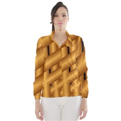 Fractal Background With Gold Pipes Wind Breaker (women)