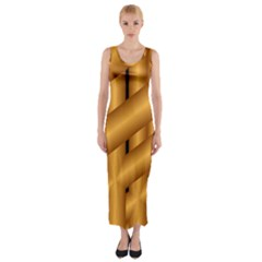 Fractal Background With Gold Pipes Fitted Maxi Dress