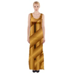 Fractal Background With Gold Pipes Maxi Thigh Split Dress