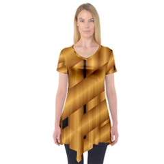 Fractal Background With Gold Pipes Short Sleeve Tunic