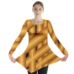 Fractal Background With Gold Pipes Long Sleeve Tunic