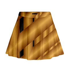 Fractal Background With Gold Pipes Mini Flare Skirt