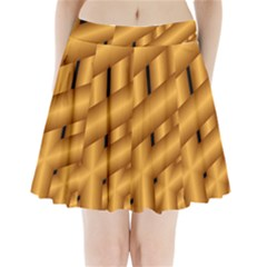 Fractal Background With Gold Pipes Pleated Mini Skirt