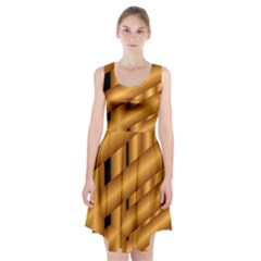 Fractal Background With Gold Pipes Racerback Midi Dress