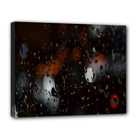 Lights And Drops While On The Road Canvas 14  x 11