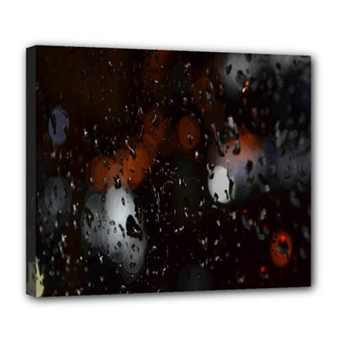 Lights And Drops While On The Road Deluxe Canvas 24  x 20