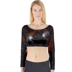 Lights And Drops While On The Road Long Sleeve Crop Top