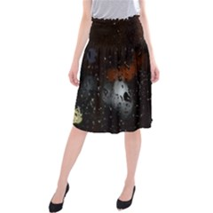 Lights And Drops While On The Road Midi Beach Skirt