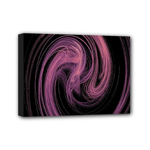 A Pink Purple Swirl Fractal And Flame Style Mini Canvas 7  X 5
