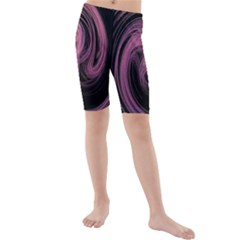 A Pink Purple Swirl Fractal And Flame Style Kids  Mid Length Swim Shorts