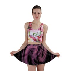 A Pink Purple Swirl Fractal And Flame Style Mini Skirt