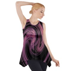 A Pink Purple Swirl Fractal And Flame Style Side Drop Tank Tunic