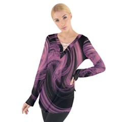 A Pink Purple Swirl Fractal And Flame Style Women s Tie Up Tee