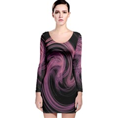 A Pink Purple Swirl Fractal And Flame Style Long Sleeve Velvet Bodycon Dress