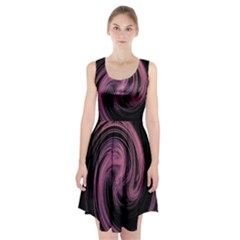 A Pink Purple Swirl Fractal And Flame Style Racerback Midi Dress