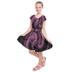 A Pink Purple Swirl Fractal And Flame Style Kids  Short Sleeve Dress