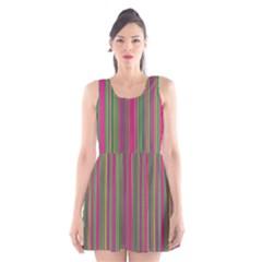 Lines Scoop Neck Skater Dress