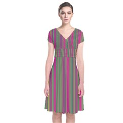 Lines Short Sleeve Front Wrap Dress